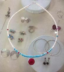 Pearls, Turquoises and a Ruby necklace