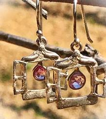 Small Windows Earrings with a gemstone