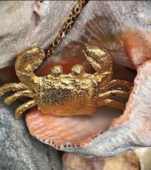 Crab Necklace gold plated