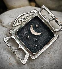Open Window Pendant with the Moon and Stars