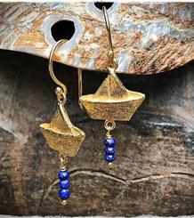 Paper Boat Earrings gold plated