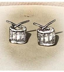 Drum Button Earrings