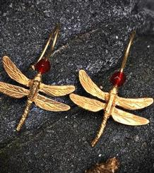 Dragonflies Earrings gold plated