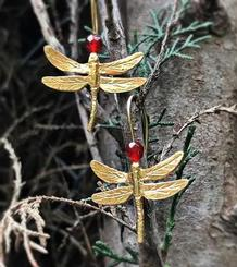 Dragonflies Earrings gold plated. medium  size
