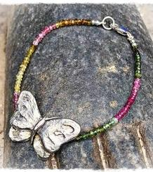 Butterfly Silver and Tourmaline Bracelet