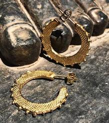 Hoop Hammered Silver Gold Plated Earrings