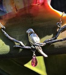 Parrot Pendant with tourmaline