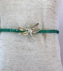 Dragonfly silver and turmaline bracelet