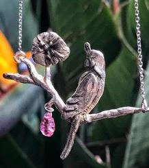 Parrot and Flower Pendant with tourmaline