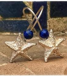 Starfish Earrings with Lapislazuli