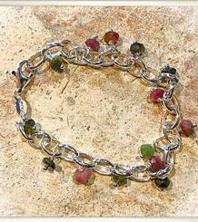Tourmalines and Silver Bracelet